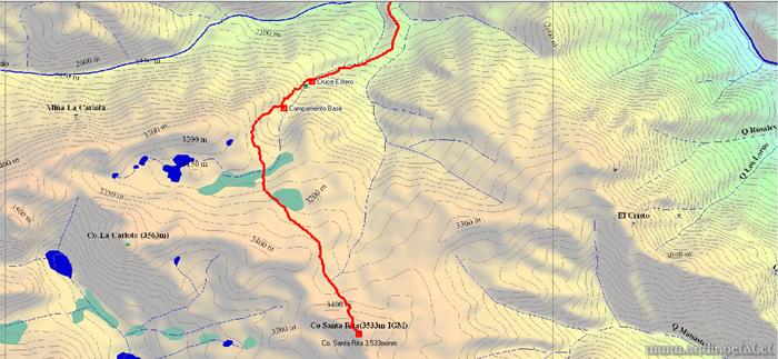 Tramo Superior Track Ascenso Cerro Santa Rita 3.533msnm