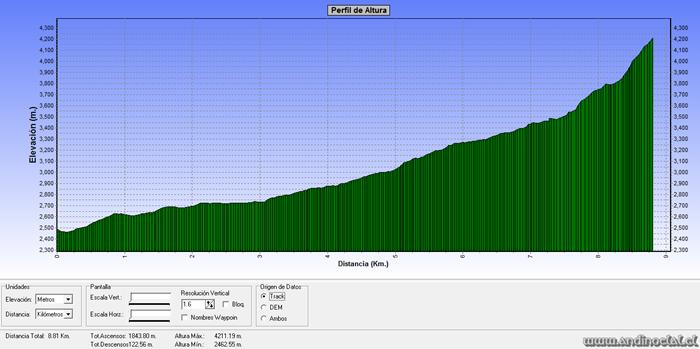 Perfil Track Ascenso Co. Carreño 4.198msnm